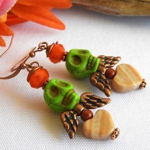 Frida Kahlo Skull Earrings Dia de los Muertos